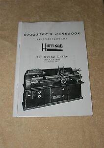 Harrison 12 Inch Lathe manual