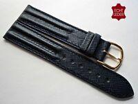 Schönes Leder Uhrenarmband Uhrband Armband dunkelblau Watch Strap Leather 18mm