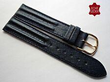 Bella Pelle Bracciale Orologi Bracciale Uhrband Jeans-Blu Watch Strap Leather 18 mm