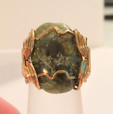 Handmade Gem Cabochon YGF Wire Wrapped  Ring Size 8