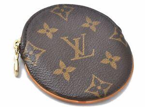 Authentic Louis Vuitton Monogram Porte Monnaie Rond Coin Case M61926 LV D7109