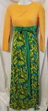 Vintage 1960s Vivid Multi Color Orange / Green / Blue Empire Waist Maxi Dress XS