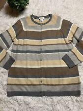 Talbots Size X 14/16 Striped Brown Angora Blend Sweater Top
