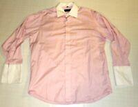 Donald J Trump Signature Mens Pink White French Cuff Dress Shirt 32/33 16.5