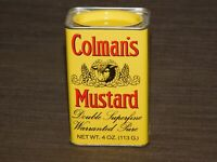 "VINTAGE KITCHEN 4"" HIGH COLMAN'S MUSTARD TIN  UNUSED NEW NOS"
