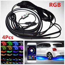 4Pcs RGB LED Car Underglow Underbody Decor Light Music Sound Active App Control