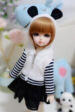 05# Girl White&Black 2pc Strip Hoodie/Dress/Outfit 1/6 SD AOD DOD DZ BJD Dollfie
