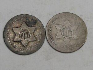 1851 & 1852 Silver 3¢ Cent - Both Weak.  #8