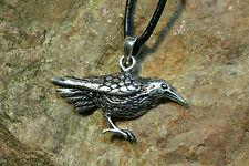 Anhänger Rabe Odin`s  Silber plus Lederband Amulett Sterlingsilber Hugin Munin