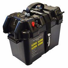 Trolling Motor Battery Box Marine Boat Smart Power Holder LED USB Charging Case