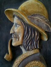 """Vintage Transylvania Carpathian mountains hand carved wood panel 18"""" by 13"""""""