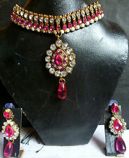 Indian Party Fashion Red Cubic Zirconia Necklace Earrings Pendant Jewelry set