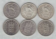 More details for six 1943/1946/1950/1953/1962 & 1963 english shillings near mint condition