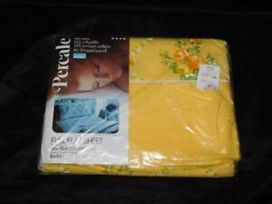 Vintage Montgomery Ward Sunlight Yellow Floral Full Flat Sheet Double Bed NEW