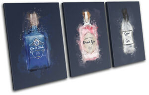 Gin Navy Drink Bar Food Kitchen TREBLE CANVAS WALL ART Picture Print