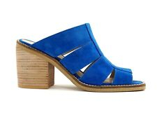 Shellys London Cobalt Blue Suede Block Heel Mules Slip On Sandal Peep Toe 5 4 37