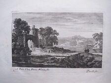 Eau-forte, Perelle, école Française XVIIe, Paysage avec tour