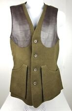 Holland & Holland Shooting Vest Wool Leather Olive Green Button Sz XS