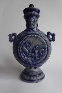 Vintage Westerwald Stoneware Lamp Base - Blue and Grey German Pottery