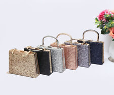 New Womens Glitter Small Hardcase Wedding Bridal Prom Evening Handbag Clutch Bag