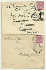 2 x 1900 NATAL COVERS 1d TO UK RE-DIRECTED LONDON & BRANDON SUFFOLK