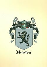 Great Coat of Arms Newton Family Crest genealogy, would look great framed!