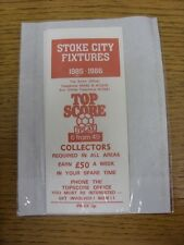 1985/1986 Fixture List: Stoke City - Official Four Page Card . Thanks for viewin