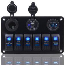 AU 6 Gang ON-OFF Toggle Switch Panel 2USB 12V for Car SUV Marine RV Truck Camper