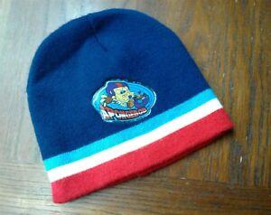 SpongeBob Square Pants on Skate board Boy's Youth Beanie ski cap hat blu/red/wht