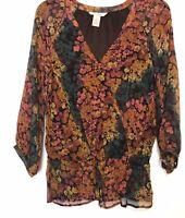 Sundance Silk Blouse Floral Size Small Top Brown Orange V Neck Drop Waist