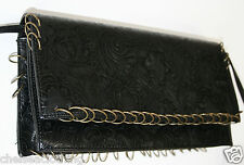 YUMI MAZAO Paris Black Handbag/Purse Floral Embossed Clutch Bag or Shoulder Bag
