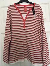 Bm Casual Soft Warm Orange & Cream striped long sleeve Mock Layer top sze 12 new