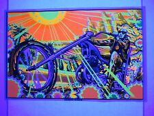 Vintage Blacklight Poster Easy DESERT RIDER Chopper Psychedelic Mini 17x11 NOS