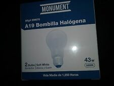 Monument HALOGEN bulb 299078 a19 43 WATTS 120 VOLTS MEDIUM  2 lamps light bulbs