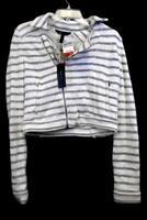 Sweatshirt By BCGC Maxizaria White Navy Blue Stripes Turtle Neck Women's SizeXS