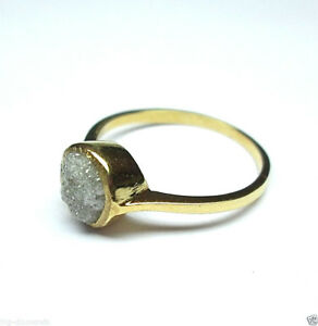Natural Raw Beautiful White Rough Diamond Ring 14K