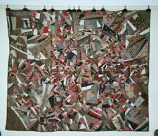 """Abstract """"CRAZY"""" Quilt / Comforter with Red Ties: 62"""" x 73"""", c.1875-85. Cottons."""