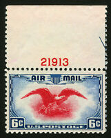 #C23 1938 6c Eagle Holding Shield Air Post PL # with Part Arrow & C/L MNH