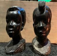 A Pair of Wooden Decorative Carved Tribal Head Busts 18.5 cm high
