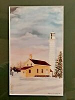 Audrey Casey Signed , Art Print - house and lighthouse 1991 Framed Matted 10""