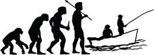 """FISHING EVOLUTION Vinyl Decal Sticker-6"""" Wide White Color"""