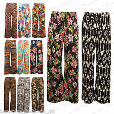 Ladies Women's Plus Size Elasticated Waist Stretchy Palazzo Floral Trouser Pant