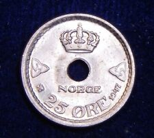 CH UNC Norway 1947 25 Ore Nice Holed Nickel-Brass Coin! Lustrous!