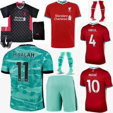 20-21 Red Football Kit Soccer Suit Kids 3-14Y Jersey Strips Sports Outfits+Socks