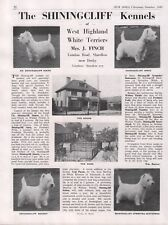 WEST HIGHLAND WHITE TERRIER WESTIE DOG BREED KENNEL AD. PAGE SHININGCLIFF 1949