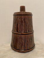 Cookie Jar Ceramic Wood Barrel Butter Churn Canister Vintage Lara Ceramica USA