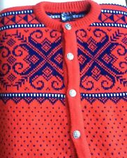 Dale of Norway Red with navy wool cardigan crewneck sweater Size M
