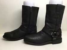 WOMENS INSPIRED SQUARE TOE HARNESS MOTORCYCLE BLACK BOOTS SIZE 6