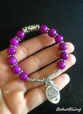 Bracelet Genuine Purple Jade Tree of Life Hippie Reiki Ethnic Boho B1020