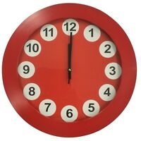 Large 35cm Round Wall Clock With Quartz Movement Red Frame